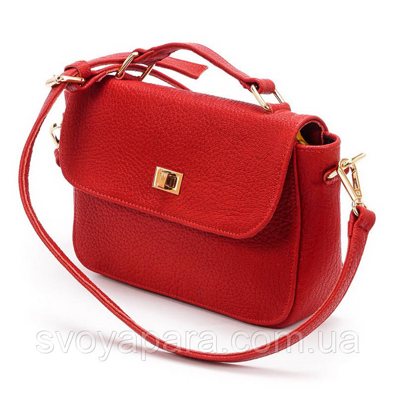 Клатч женская сумочка из натуральной кожи флота красного цвета с клапаном и замком вертушка