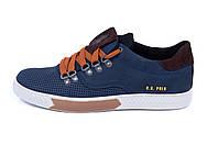 Мужские кожаные летние кроссовки, перфорация Polo blue (реплика)