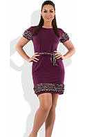 Бордовое платье мини с рюшами размеры от XL ПБ-262