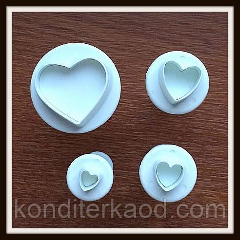 Плунжер Сердечки 4  шт (кнопка)