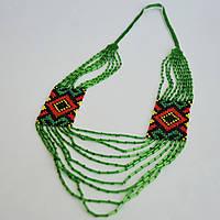 Украинское украшение из бисера Орнамент зеленый, фото 1