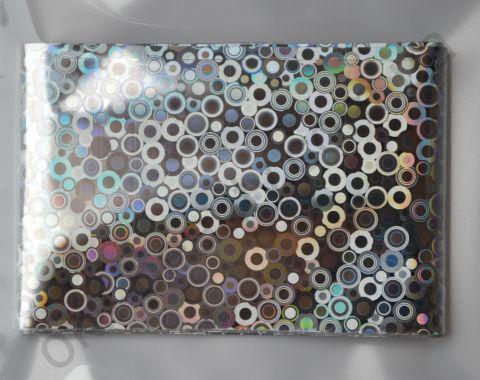 Фольга для дизайна ногтей, литья (переводная). Цвет: серебро кружки  (Размер: 4см на 1 метр)