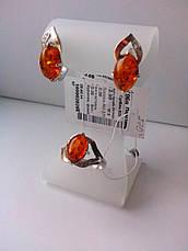 Серебряные украшения с янтарем - кольцо и серьги, фото 2