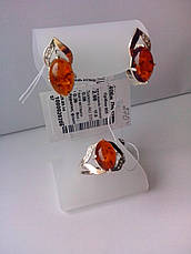 Серебряные украшения с янтарем - кольцо и серьги, фото 3