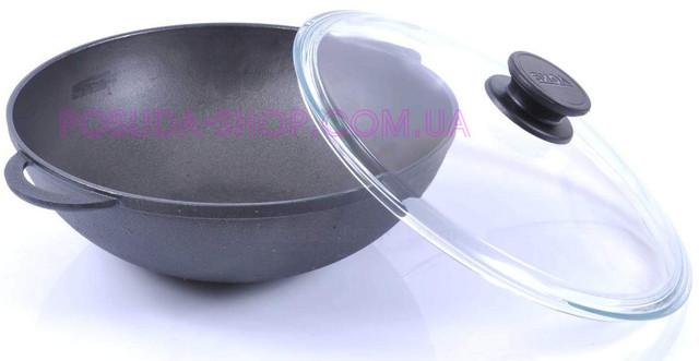 Сковорода WOK Биол чугунная со стеклянной крышкой