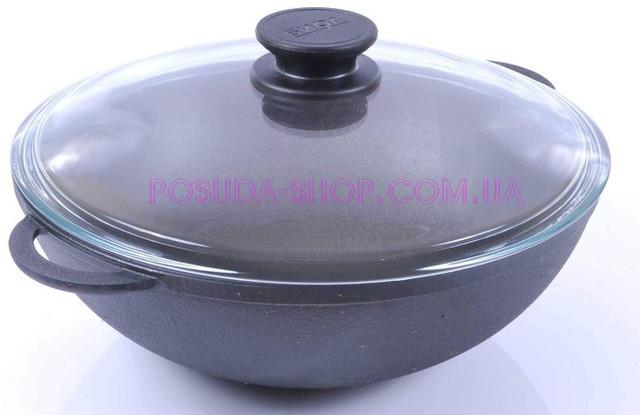 Сковороды WOK чугунные Биол со стеклянной крышкой ВОК