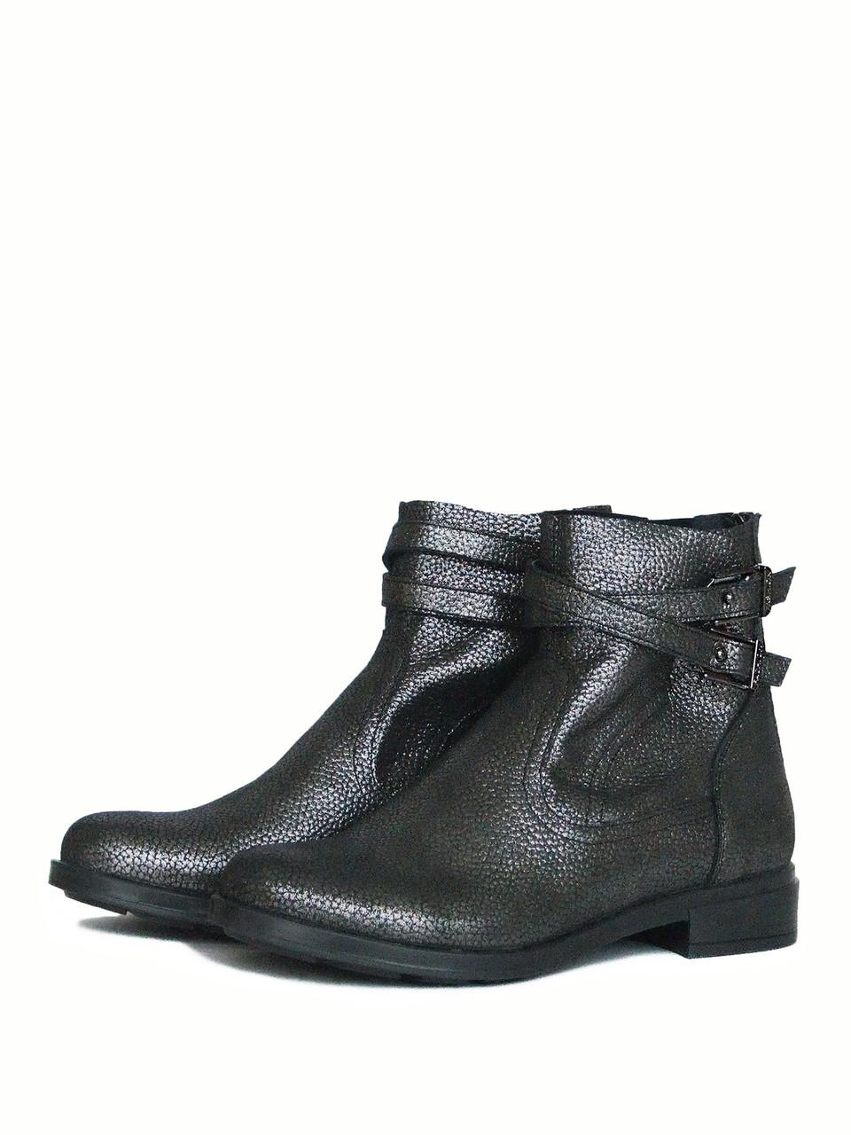 Удобные кожаные серебристые ботинки