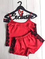 Низкие шорты с майкой ,красный комплект для сна