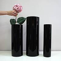 Черная ваза цилиндр.Черная ваза тубус. Ваза из черного стекла. Black glass.  h - 195мм, d - 110 мм