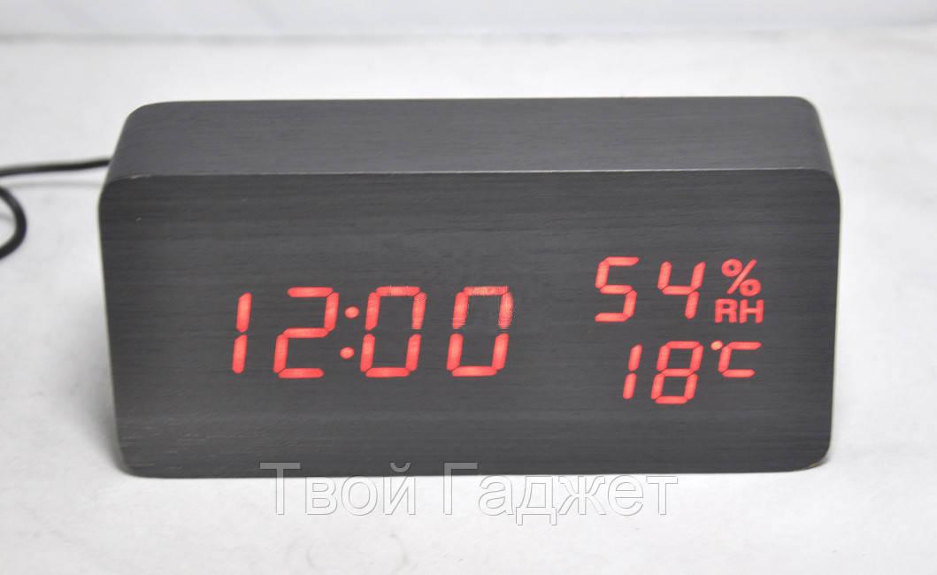 Настольные часы c красной подсветкой на черном фоне с датой и влажностью воздуха в виде  бруска VST-862S-1