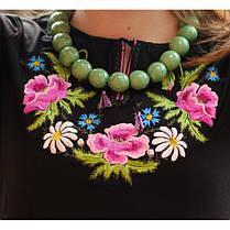 Женская вышиванка букет с вышитым длинным рукавом до 56 размера, фото 2
