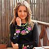 Женская вышиванка букет с вышитым длинным рукавом до 56 размера