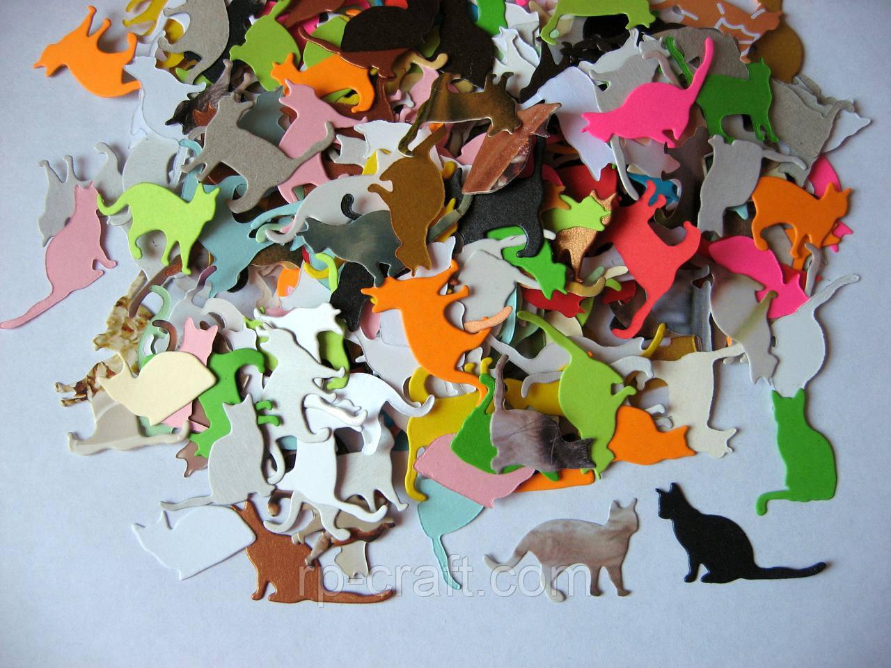 Набор высечек из бумаги и картона. Коты, 20х35 мм, 20 штук
