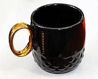 Керамическая чашка Starbucks Gold черная, фото 1