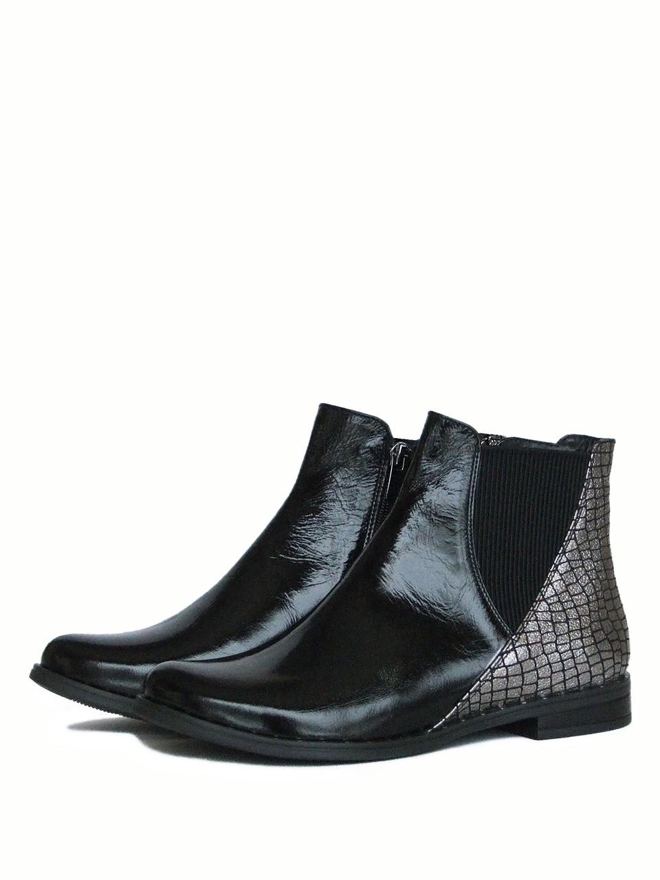 Черно-серебристые женские ботинки челси