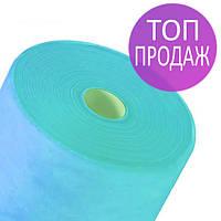 Одноразовые простыни в рулонах 0,8х100 метров 17 г/м2, медицинские, для салонов красоты, голубые