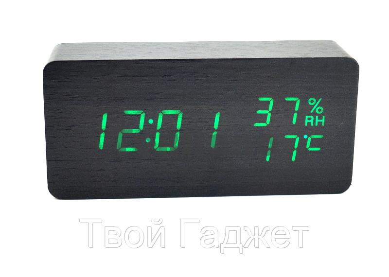 Настольные часы c зеленой подсветкой на черном фоне с датой и влажностью воздуха в виде бруска VST-862S-4