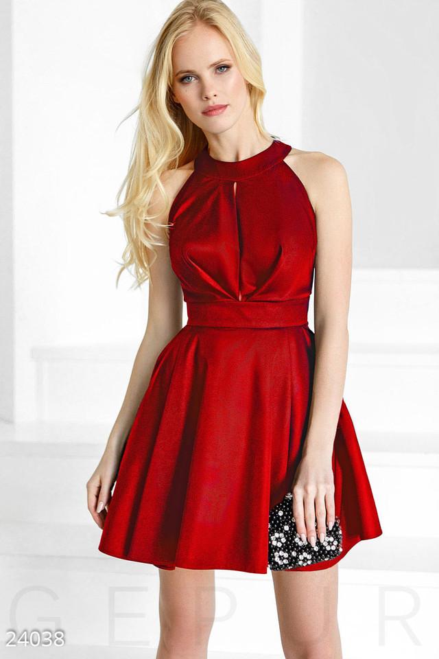 8530390119f Модное платье короткое с пышной юбкой без рукав вырез красное ...
