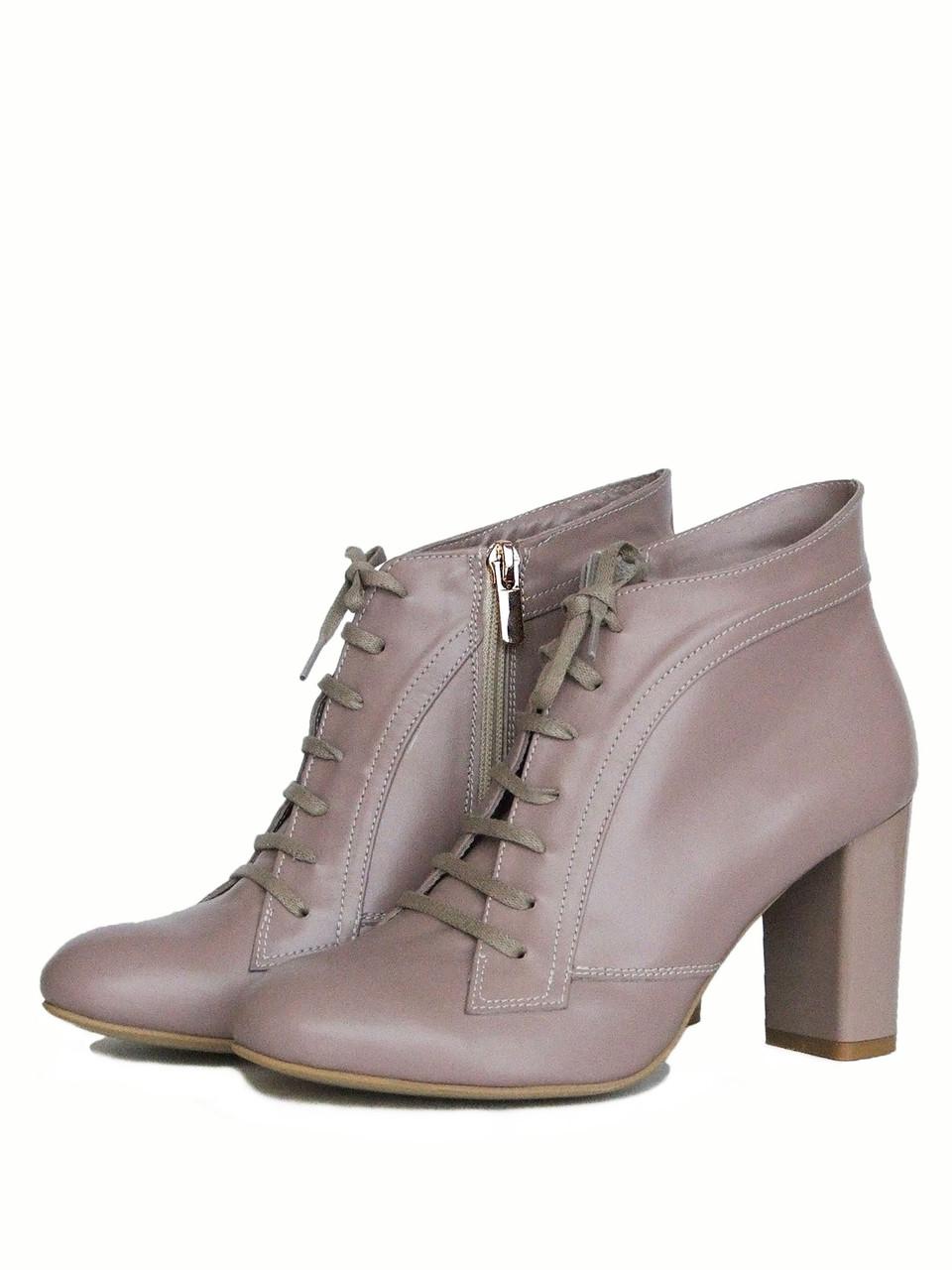 c3ebac4f Бежевые ботинки на каблуке со шнуровкой - купить по лучшей цене в ...