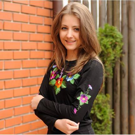 Женская футболка-вышиванка с длинным рукавом Анютыны глазки до 54 размера, фото 2
