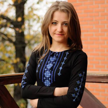 Женская футболка-вышиванка с длинным рукавом Бойковский орнамент 2 до 56 размера, фото 2