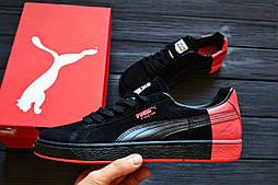 "Кроссовки Puma Suede ""Pigeon"" Black&Red. Живое фото! Топ качество! (Реплика ААА+)"