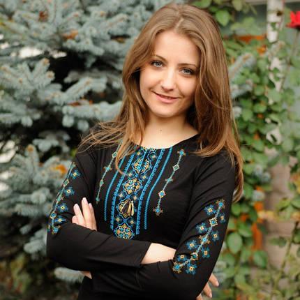 Женская футболка-вышиванка с длинным рукавом Бойковский орнамент 3 до 56 размера, фото 2