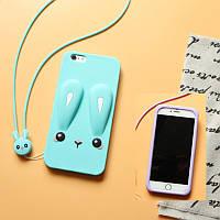 Чехол Бампер 3D для iPhone 6 / 6s  резиновый Funny-Bunny голубой