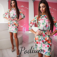 Женское платье с поясом , в расцветках ., фото 1