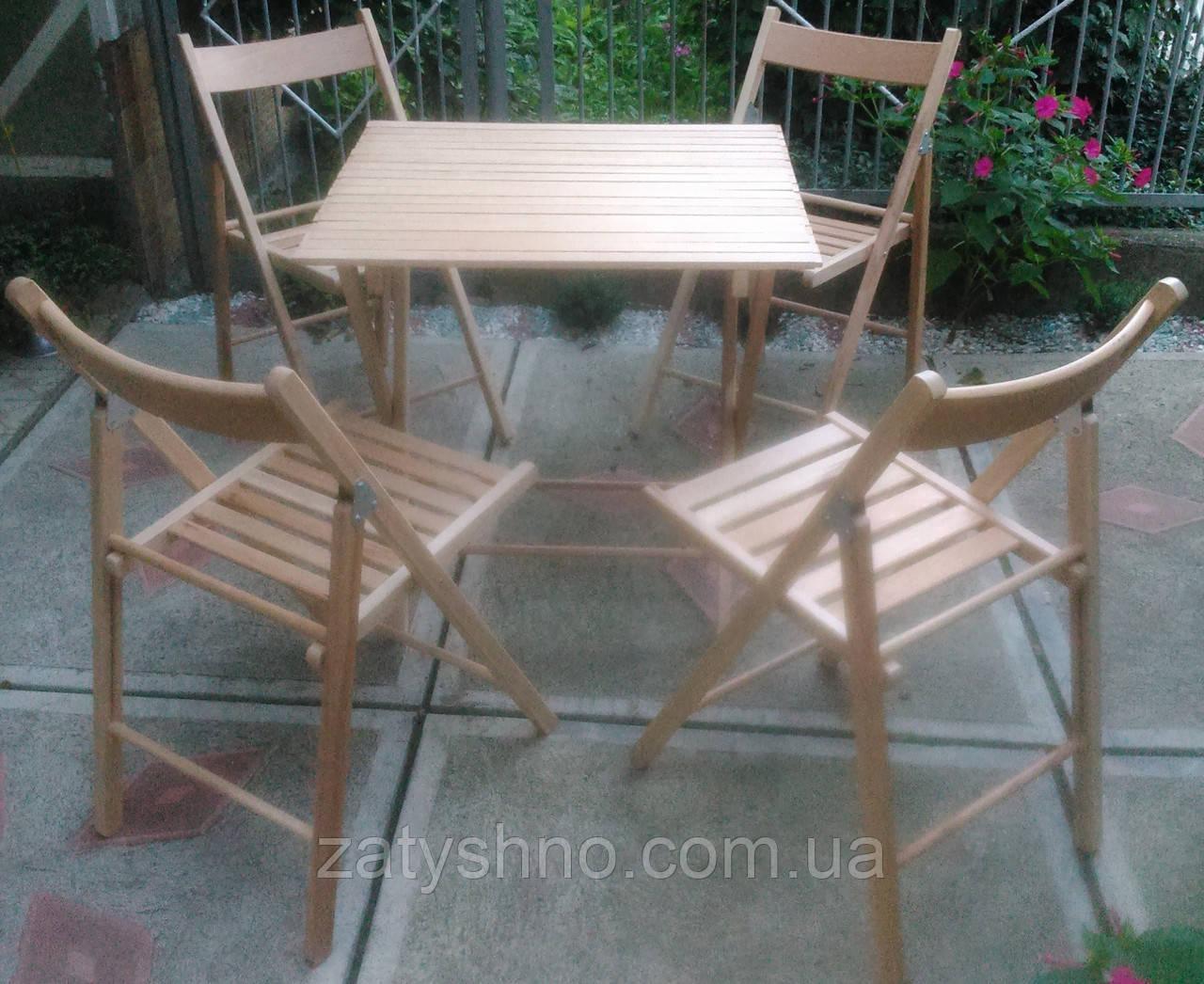 Комплект складной деревянной мебели из бука