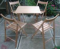 Комплект складной деревянной мебели | мебель из бука | комплект плетеной мебели из бука