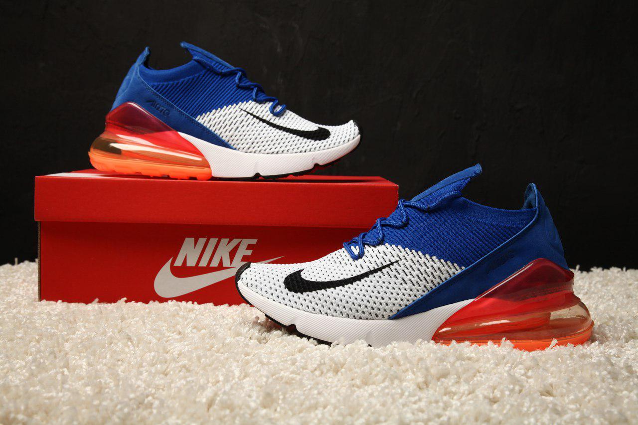 355ae6cd4eff Мужские Кроссовки Nike Air Max 270 Flyknit Racer Blue Реплика ААА+ — в  Категории