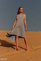 Асимметричное летнее платье свободное светло синее
