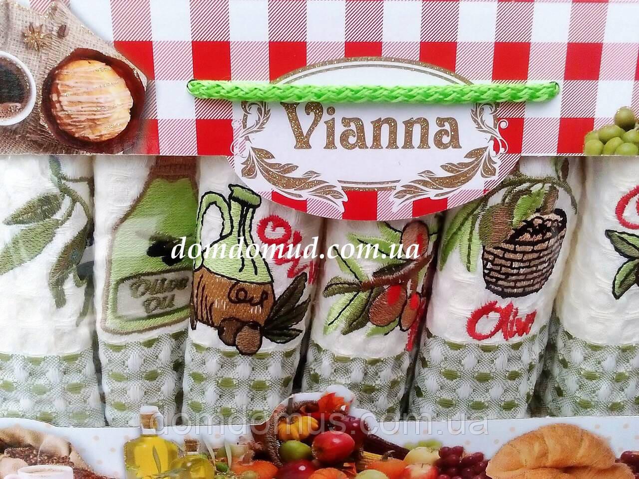 """Набор кухонных вафельных полотенец """"Олива"""" 35*50 см Vianna 6 шт.,Турция 521"""