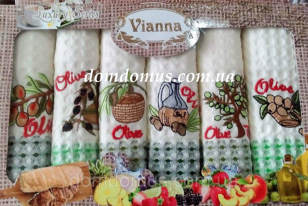 """Набор кухонных вафельных полотенец """"Олива"""" 50*70 см Vianna 6 шт.,Турция"""