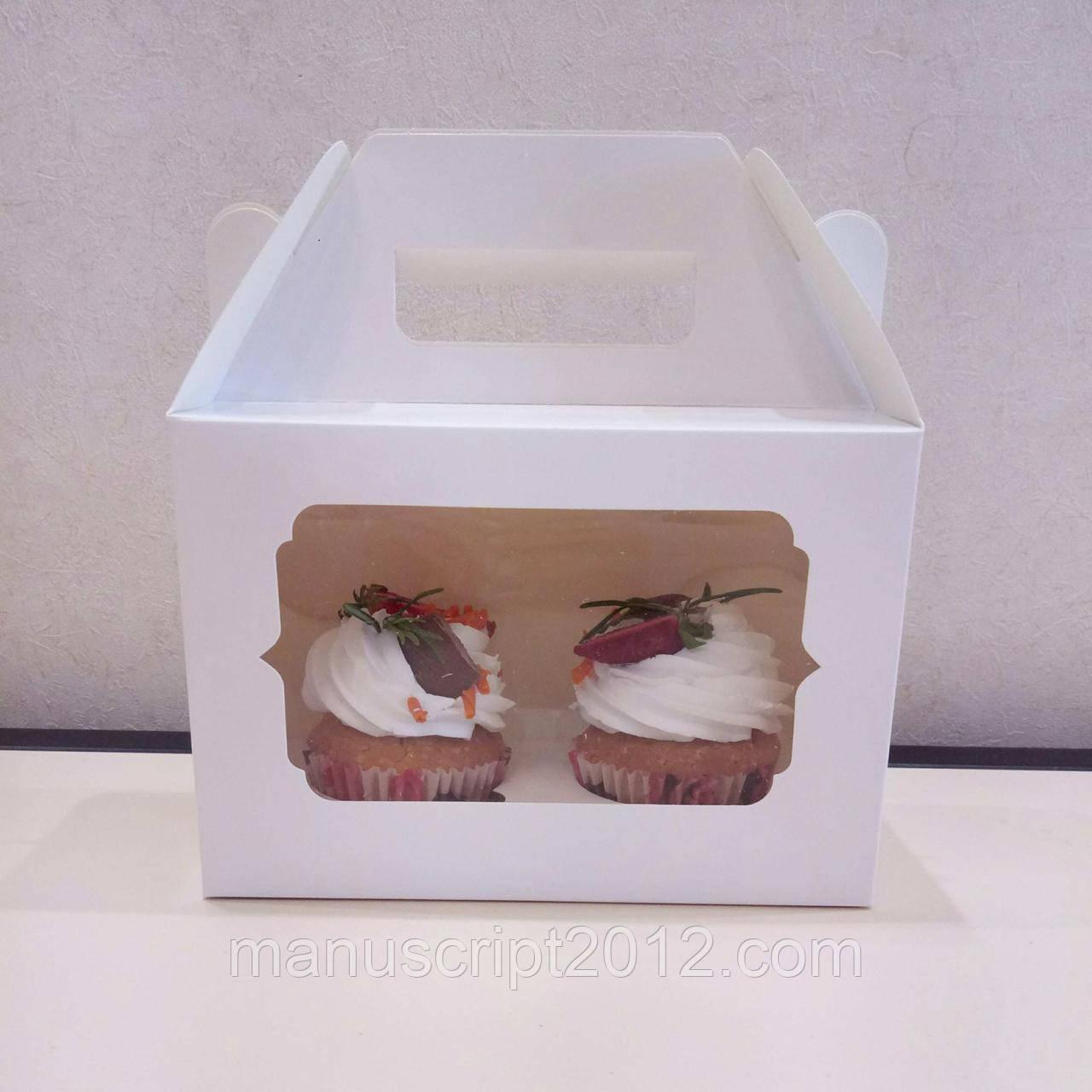 Коробка с ручками на 2 капкейка