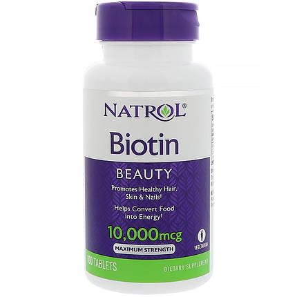Natrol Biotin 10,000 mcg 100 tabs, фото 2