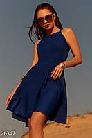 Летнее платье мини на бретельках полу облегающее синее