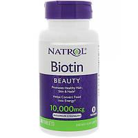 Биотин 10000 мкг 100 таб витамины для волос  Natrol (USA)
