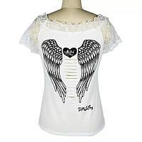 Белая футболка с крыльями ангела, фото 1