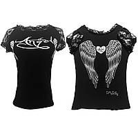 Футболка с крыльями ангела черная