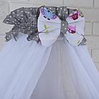 Комплект постельного белья Asik Звёзды на сером и цветные совушки на белом 8 предметов (8-251), фото 5