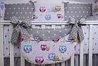 Комплект постельного белья Asik Звёзды на сером и цветные совушки на белом 8 предметов (8-251), фото 7