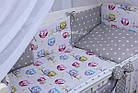 Комплект постельного белья Asik Звёзды на сером и цветные совушки на белом 8 предметов (8-251), фото 2