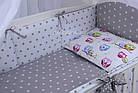 Комплект постельного белья Asik Звёзды на сером и цветные совушки на белом 8 предметов (8-251), фото 4