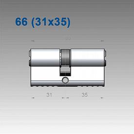 Цилиндр Mul-T-Lock 7х7 66 мм (31х35)