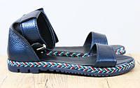 Босоножки кожаные синие на низком ходу , фото 1