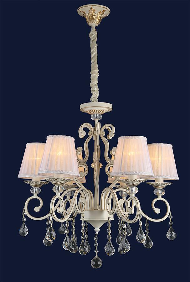Красивая классическая люстра на 6 ламп 755MK30005-6 WT+FGD