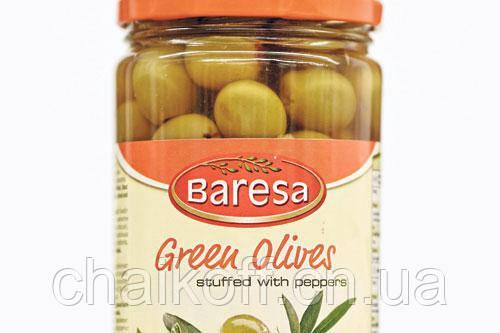 Оливки зеленые без косточки с паприкой Baresa 680г (шт.)