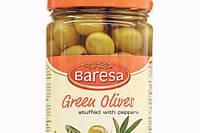 Оливки зеленые без косточки с паприкой Baresa 680г (шт.), фото 1